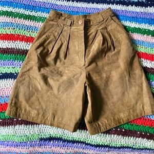 Vintage Suede Brown Camel Leather High Rise Shorts